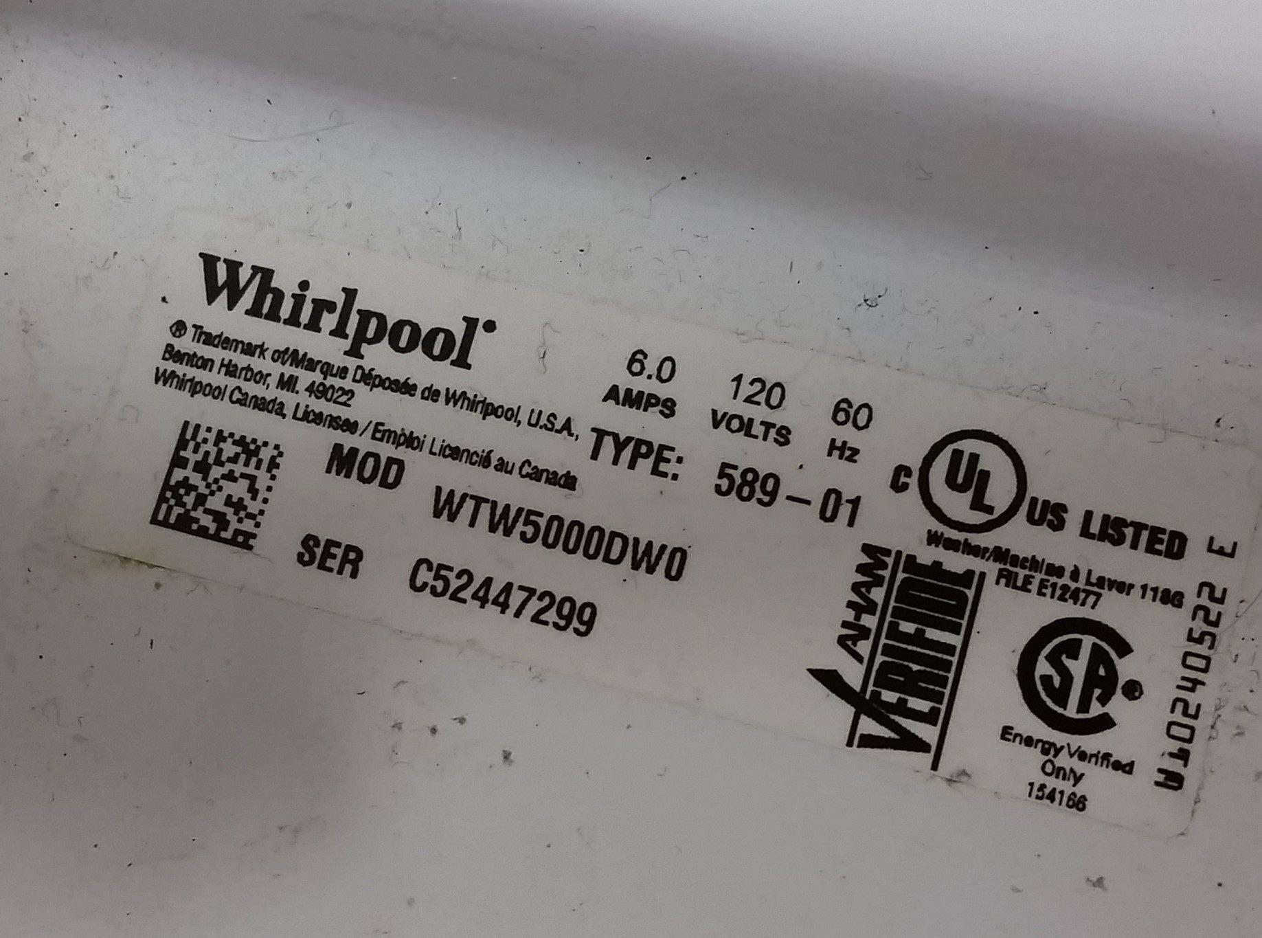 whirlpool washing machine model wtw5000dw