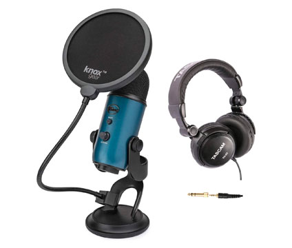 blue microphone with stand