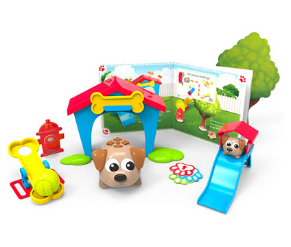 toy dog with doghouse and book