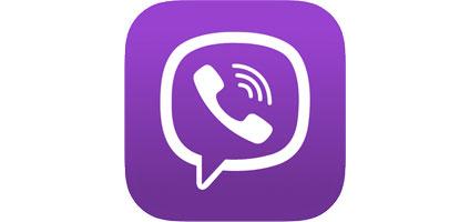 viber logo white phone over purple