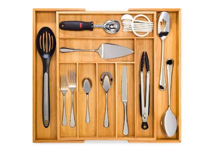 wooden kitchen drawer organizer