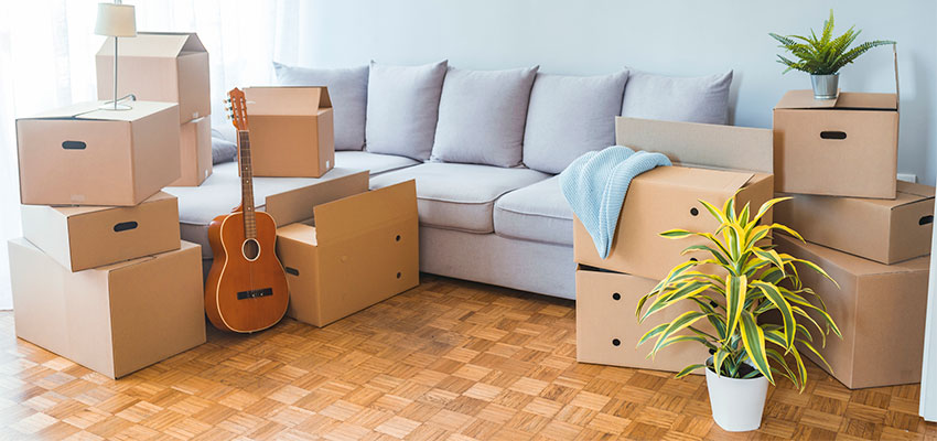 organized room with boxes
